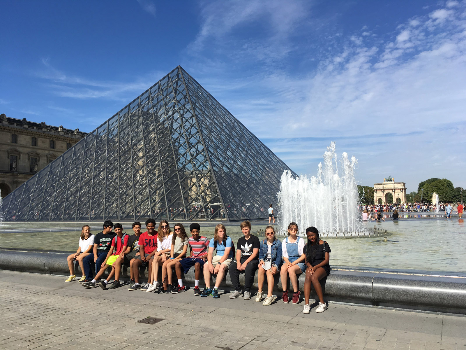 students near the Louvre